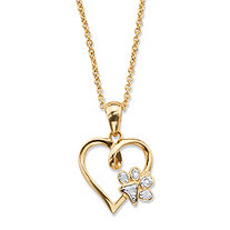 "Diamond Accent Paw Print and Heart Pendant Necklace 14k Gold-Plated 18""-20"""
