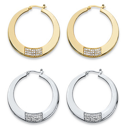 Round Crystal Square Cluster 2-Pair Hoop Earrings Set in Gold Tone and Silvertone 1.75