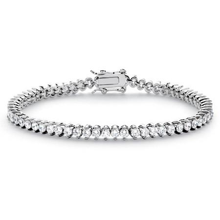 "Round Cubic Zirconia Tennis Bracelet 6.50 TCW Platinum-Plated 7.5"" at PalmBeach Jewelry"