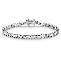 "Round Cubic Zirconia Tennis Bracelet 6.50 TCW Platinum-Plated 7.5"""
