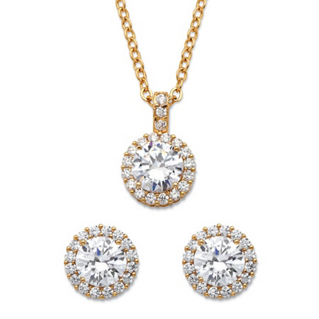 Round Cubic Zirconia Yellow Halo Necklace and Earrings Set 6.30 TCW in Gold Tone 18
