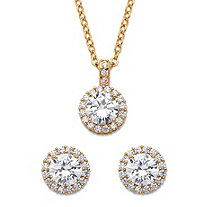 Round Cubic Zirconia Yellow Halo Necklace and Earrings Set 6.30 TCW in Gold Tone 18""