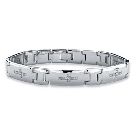 "Men's Diamond Accent Cross Pantera-Link Bracelet in Silvertone 8"" at PalmBeach Jewelry"