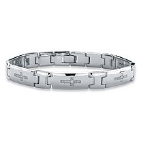 Men's Diamond Accent Cross Pantera-Link Bracelet in Silvertone 8.5""