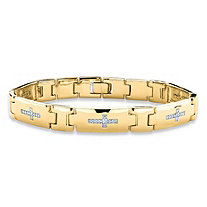 Men's Diamond Accent Cross Pantera-Link Bracelet 14k Gold-Plated 8.5""