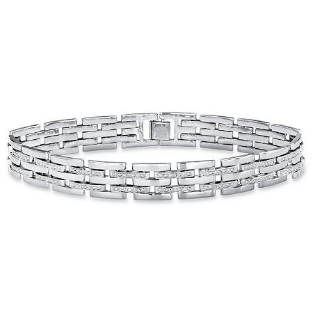 "Men's Diamond Accent Bar-Link Bracelet in Silvertone 9"" at PalmBeach Jewelry"