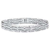 Men's Diamond Accent Bar-Link Bracelet in Silvertone 9""