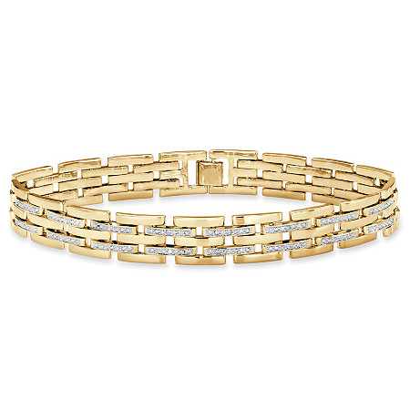"Men's Diamond Accent Bar-Link Bracelet 14k Gold-Plated 9"" at PalmBeach Jewelry"