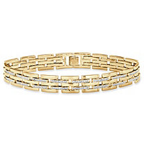 Men's Diamond Accent Bar-Link Bracelet 14k Gold-Plated 9""
