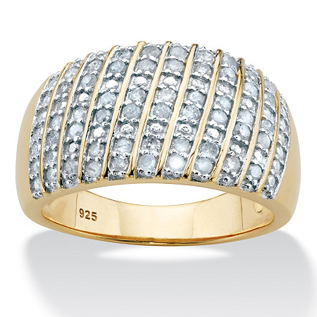 Diamond Multi-Row Dome Ring 1/2 TCW in 14k Gold over Sterling Silver at PalmBeach Jewelry