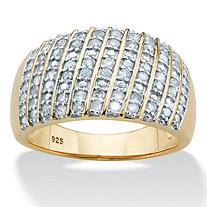 Diamond Multi-Row Dome Ring 1/2 TCW in 14k Gold over Sterling Silver