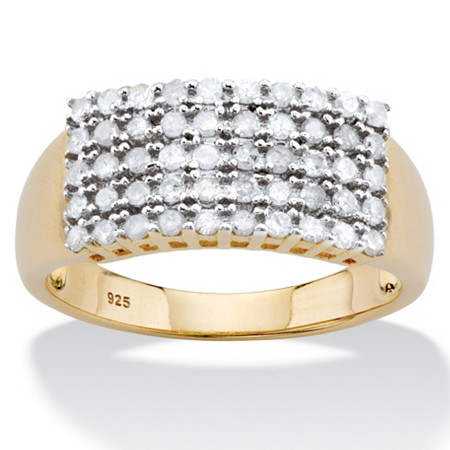 Round Diamond Multi-Row Grid Ring 1/2 TCW in 14k Gold over Sterling Silver at PalmBeach Jewelry