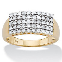SETA JEWELRY Round Diamond Multi-Row Grid Ring 1/2 TCW in 14k Gold over Sterling Silver