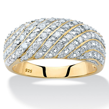 Pave Diamond Multi-Row Dome Ring 1/4 TCW in 14k Gold over Sterling Silver at PalmBeach Jewelry