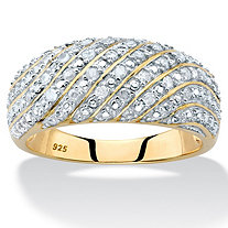 Pave Diamond Multi-Row Dome Ring 1/4 TCW in 14k Gold over Sterling Silver