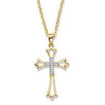 "Round Diamond Cross Pendant Necklace 1/10 TCW 14k Gold-Plated 18""-20"""