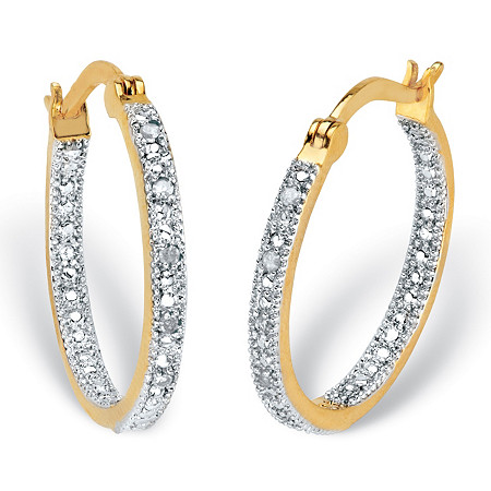 """Round Diamond Accent Inside-Out Hoop Earrings 1/10 TCW 14k Gold-Plated 7/8"""" at PalmBeach Jewelry"""