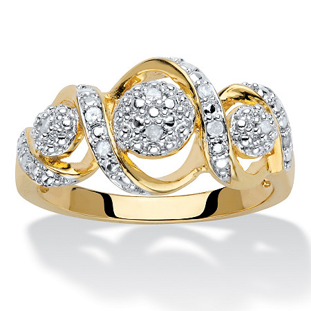Round Diamond Crossover Journey Ring 1/10 TCW 14k Gold-Plated at PalmBeach Jewelry