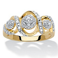 Round Diamond Crossover Journey Ring 1/10 TCW 14k Gold-Plated