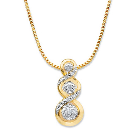 "Round Diamond Crossover Journey Slide Pendant Necklace 1/10 TCW 14k Gold-Plated 18""-20"" at PalmBeach Jewelry"