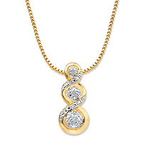 "Round Diamond Crossover Journey Slide Pendant Necklace 1/10 TCW 14k Gold-Plated 18""-20"""