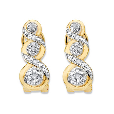 Round Diamond Crossover Journey Drop Earrings 1/10 TCW 14k Gold-Plated at PalmBeach Jewelry