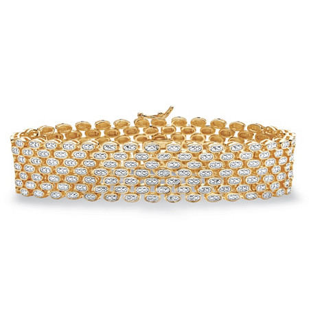 "Diamond Accent Panther-Link Two-Tone Bracelet 14k Gold-Plated 7.25"" at PalmBeach Jewelry"