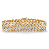 Diamond Accent Panther-Link Two-Tone Bracelet 14k Gold-Plated 7.25