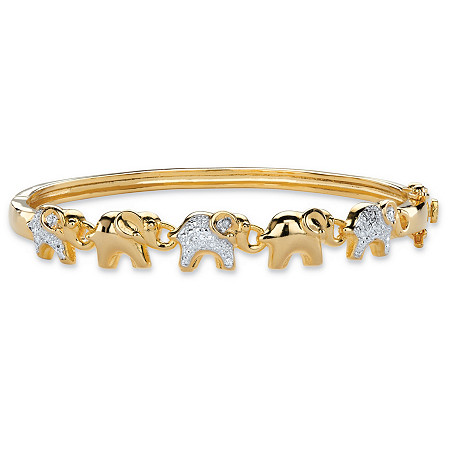 "Diamond Accent Two-Tone Elephant Parade Bangle Bracelet 14k Gold-Plated 7"" at PalmBeach Jewelry"