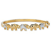 Diamond Accent Two-Tone Elephant Parade Bangle Bracelet 14k Gold-Plated 7""