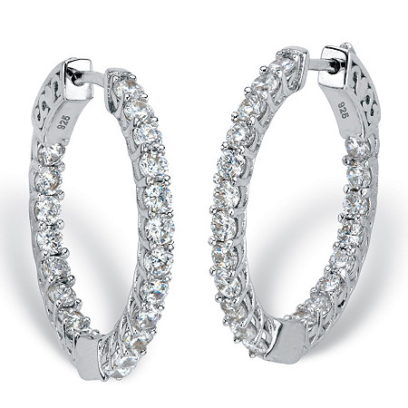 "Round Cubic Zirconia Huggie-Hoop Inside-Out Earrings 2.40 TCW in Sterling Silver 1"" at PalmBeach Jewelry"