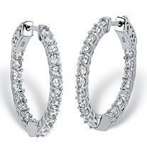 Round Cubic Zirconia Huggie-Hoop Inside-Out Earrings 2.40 TCW in Sterling Silver 1""