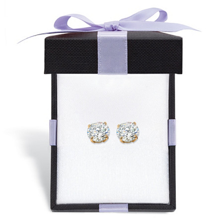Round Cubic Zirconia Stud Earrings 1.80 TCW in Solid 10k Yellow Gold With FREE Gift Box at PalmBeach Jewelry