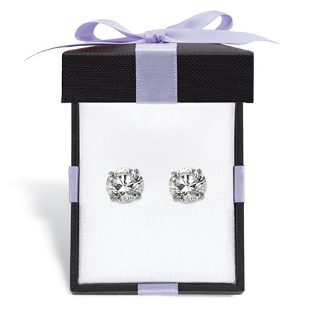 Round Cubic Zirconia Stud Earrings 3 TCW in Solid 10k White Gold With FREE Gift Box at PalmBeach Jewelry