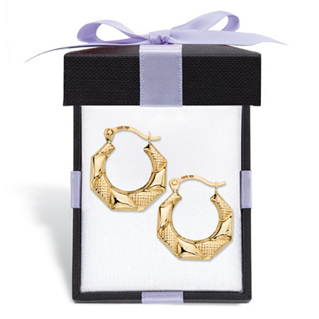 "Diamond-Cut Banded Hoop Earrings in 10k Yellow Gold With FREE Gift Box 1/2"" at PalmBeach Jewelry"