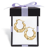 SETA JEWELRY Diamond-Cut Banded Hoop Earrings in 10k Yellow Gold With FREE Gift Box 1/2