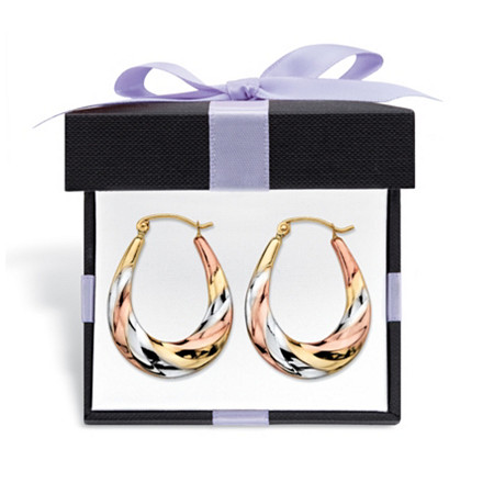 "Diamond-Cut Oval Twisted Hoop Earrings in Tri-Tone Yellow, Rose and White 10k Gold With FREE Gift Box 3/4"" at PalmBeach Jewelry"