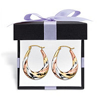SETA JEWELRY Diamond-Cut Oval Twisted Hoop Earrings in Tri-Tone Yellow, Rose and White 10k Gold With FREE Gift Box 3/4