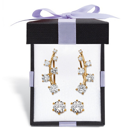 Round Cubic Zirconia Ear Climber and Stud 2-Pair Earrings Set 2.22 TCW in 14k Gold over Sterling Silver With FREE Gift Box at PalmBeach Jewelry