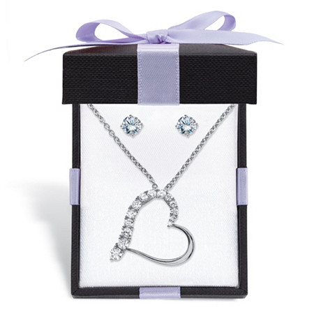 "Cubic Zirconia Stud Earrings and Heart-Shaped Pendant Necklace Set 1.96 TCW in Sterling Silver With FREE Gift Box 18""-20"" at PalmBeach Jewelry"