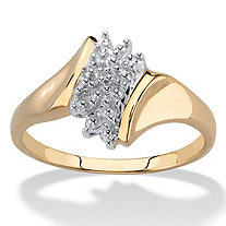 Pave Diamond Accent Cluster Ring 18k Yellow Gold-Plated