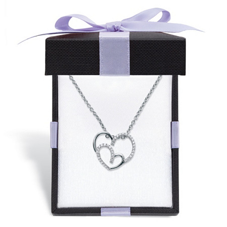 "Round Cubic Zirconia Double Heart Pendant Necklace .19 TCW in Sterling Silver With FREE Gift Box 18""-20"" at PalmBeach Jewelry"