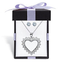 "Round Cubic Zirconia Stud Earrings and Heart-Shaped Pendant Necklace 2-Piece Set 3 TCW in Sterling Silver With FREE Gift Box 18""-20"""