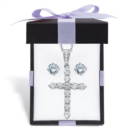 "Round Cubic Zirconia Stud Earrings and Cross Pendant Necklace 2-Piece Set 2.14 TCW in Sterling Silver With FREE Gift Box 18""-20"" at PalmBeach Jewelry"
