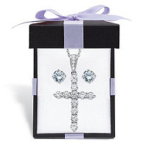 "Round Cubic Zirconia Stud Earrings and Cross Pendant Necklace 2-Piece Set 2.14 TCW in Sterling Silver With FREE Gift Box 18""-20"""