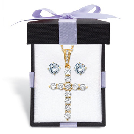 Cubic Zirconia Stud Earrings and Cross Pendant Necklace 2-Piece Set 2.14 TCW in 14k Gold over Sterling Silver With FREE Gift Box 18