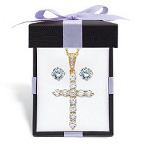 "Cubic Zirconia Stud Earrings and Cross Pendant Necklace 2-Piece Set 2.14 TCW in 14k Gold over Sterling Silver With FREE Gift Box 18""-20"""