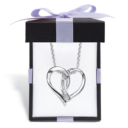 "Diamond Accent Intertwined Heart Pendant Necklace in Sterling Silver With FREE Gift Box 18""-20"" at PalmBeach Jewelry"