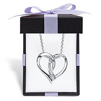 Diamond Accent Intertwined Heart Pendant Necklace in Sterling Silver With FREE Gift Box 18