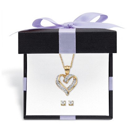"Diamond Accent 2-Piece Stud Earrings and Heart Necklace Set 14k Gold-Plated With FREE Gift Box 18""-20"" at PalmBeach Jewelry"